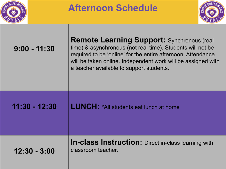 CDDHS Quadmester 1 Afternoon Schedule