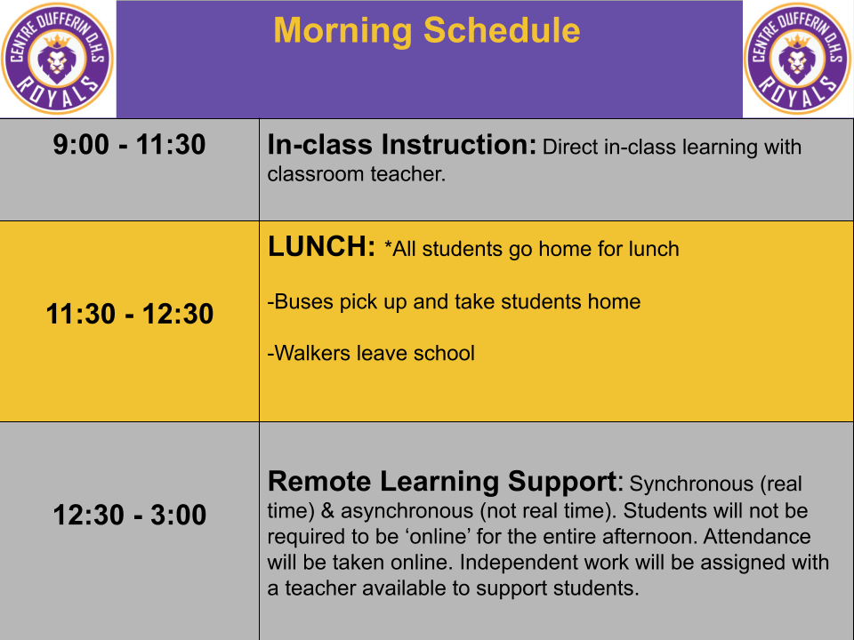CDDHS Quadmester 1 Morning Schedule