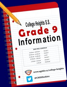 Click for more information for our incoming Grade 9 students!