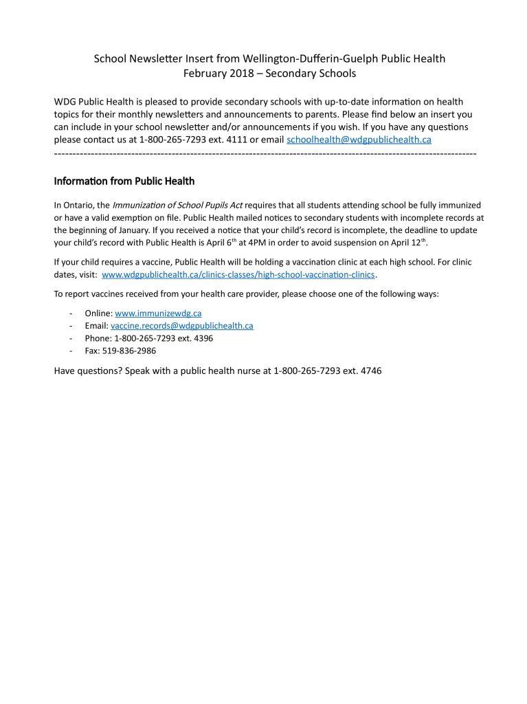 Feb 2018_Public Health School Newsletter Insert For Parents_Secondary