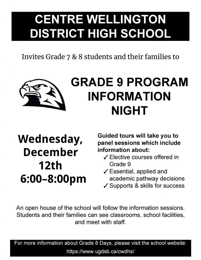 Grade 9 Program Information Night 2018 Flyer 3 1