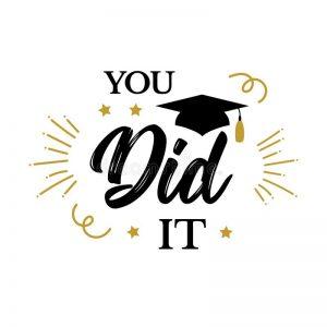 You Did Congrats Graduates Class Graduation Party Icon Red Black Cap Vector Design Logo Congratulation Ceremony 134295877
