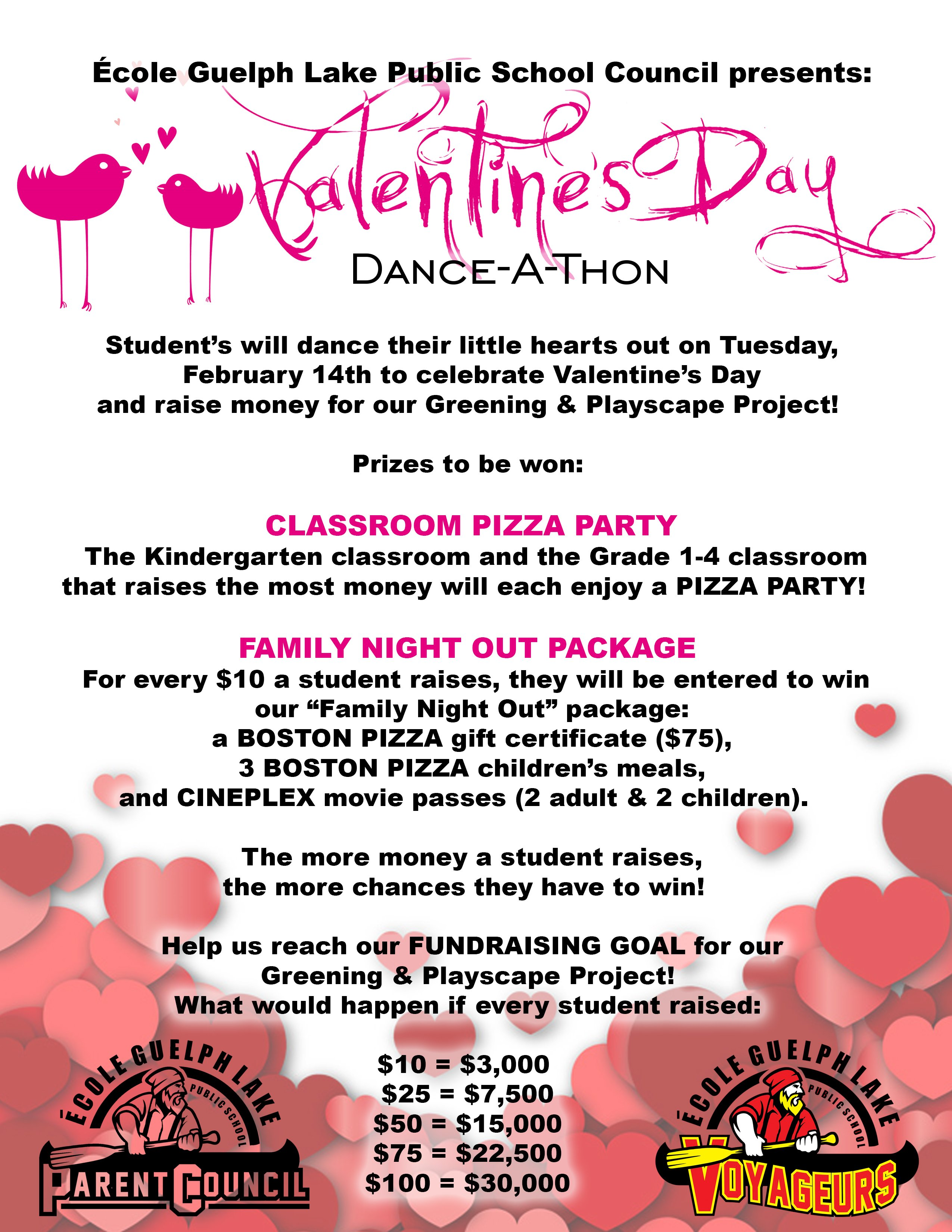 Ecole Guelph Lake Valentine's Day Dance-A-Thon Flyer