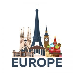 Travel Poster Europe Vacation Trip To Country Travelling Illustration Modern Flat 85552766 (1)