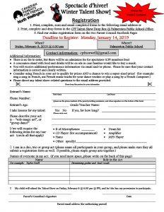 Talent Show Registration Form 2019
