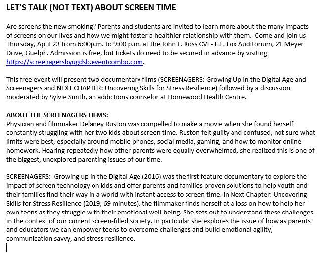 Screen Time Mental Health March 2020