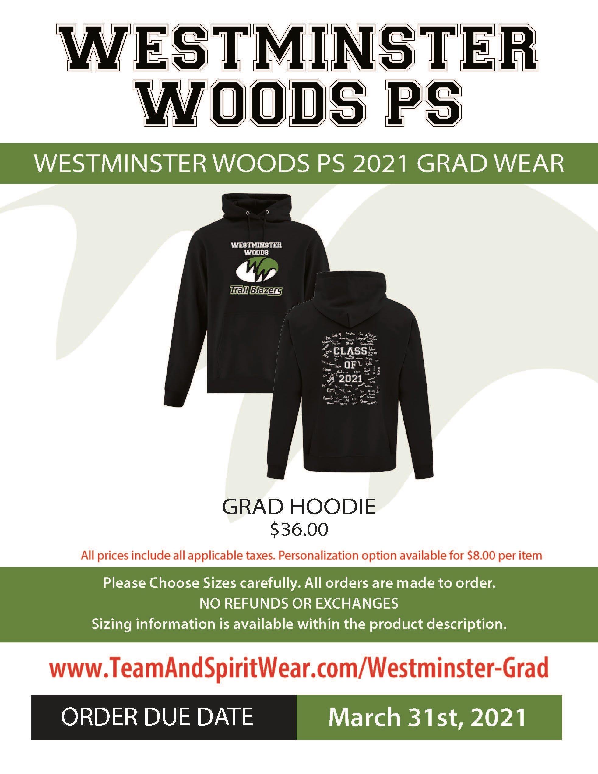 Westminster Woods PS   Grad Wear Flyer