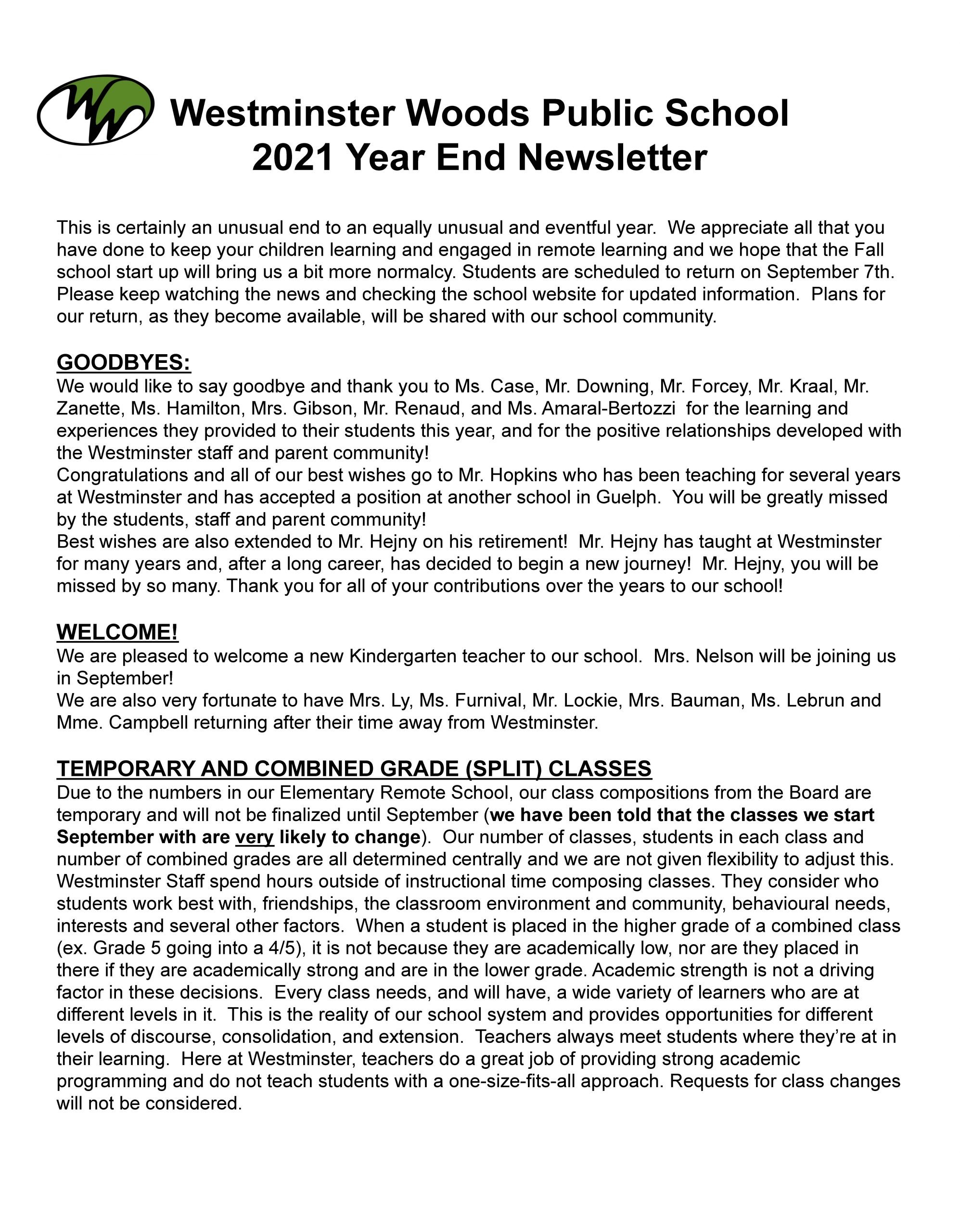 Westminster End Of Year Newsletter 2021_Page_1