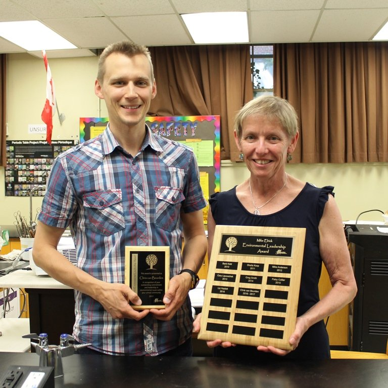 Chris van Beurden, a teacher at GCVI, is presented with the 2017 Mike Elrick Environmental Leadership Award.