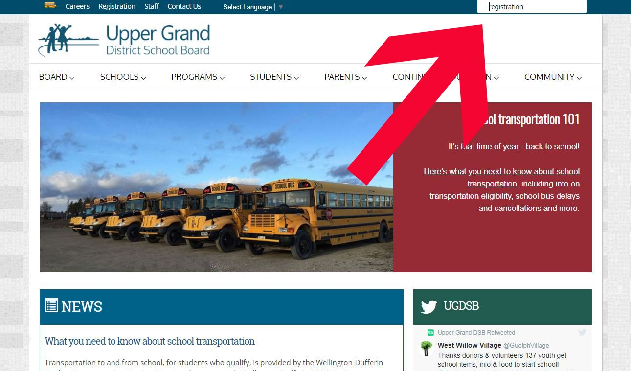 How to find the search bar in the new UGDSB website.