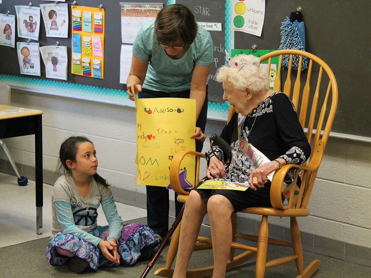 On Oct. 6, 2017, the staff and students at J.D. Hogarth Public School celebrated Mrs. Elsie Dandy's 100th birthday.