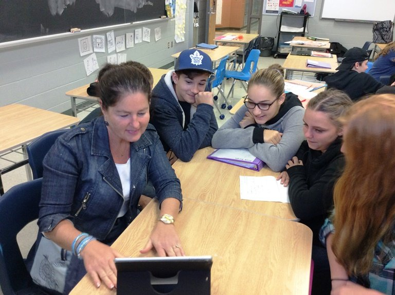 France Teacher_ Elizabeth Bouvet Guillot With Gr 9 EDHS Students