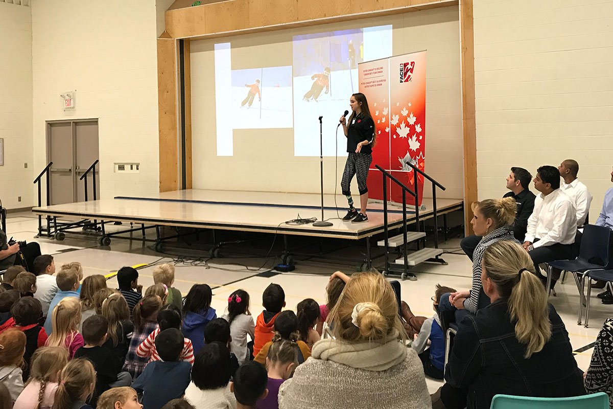 On Nov. 8, 2017, Paralympic star Sarah Gillies was at Island Lake PS, speaking to students.