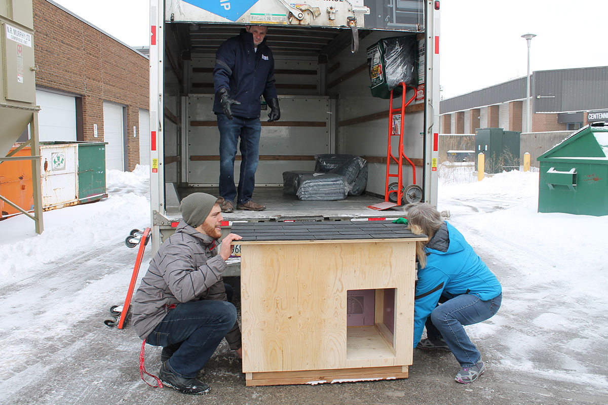 On Monday Feb. 5, 2018, 15 dog houses built by College Heights construction students were sent to Oneida Nation of the Thames.