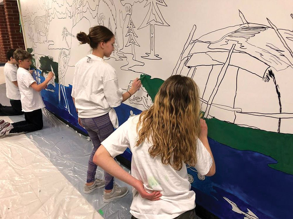 Students at Erin PS created a mural with artist Michael Cywink the week of February 5-9, 2018.