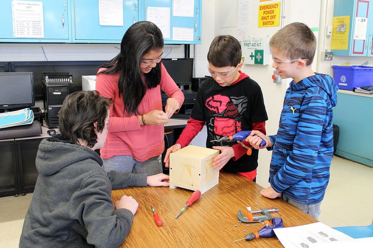Students at Waverley Drive PS are building bee boxes to assist University of Guelph research, March 2018.