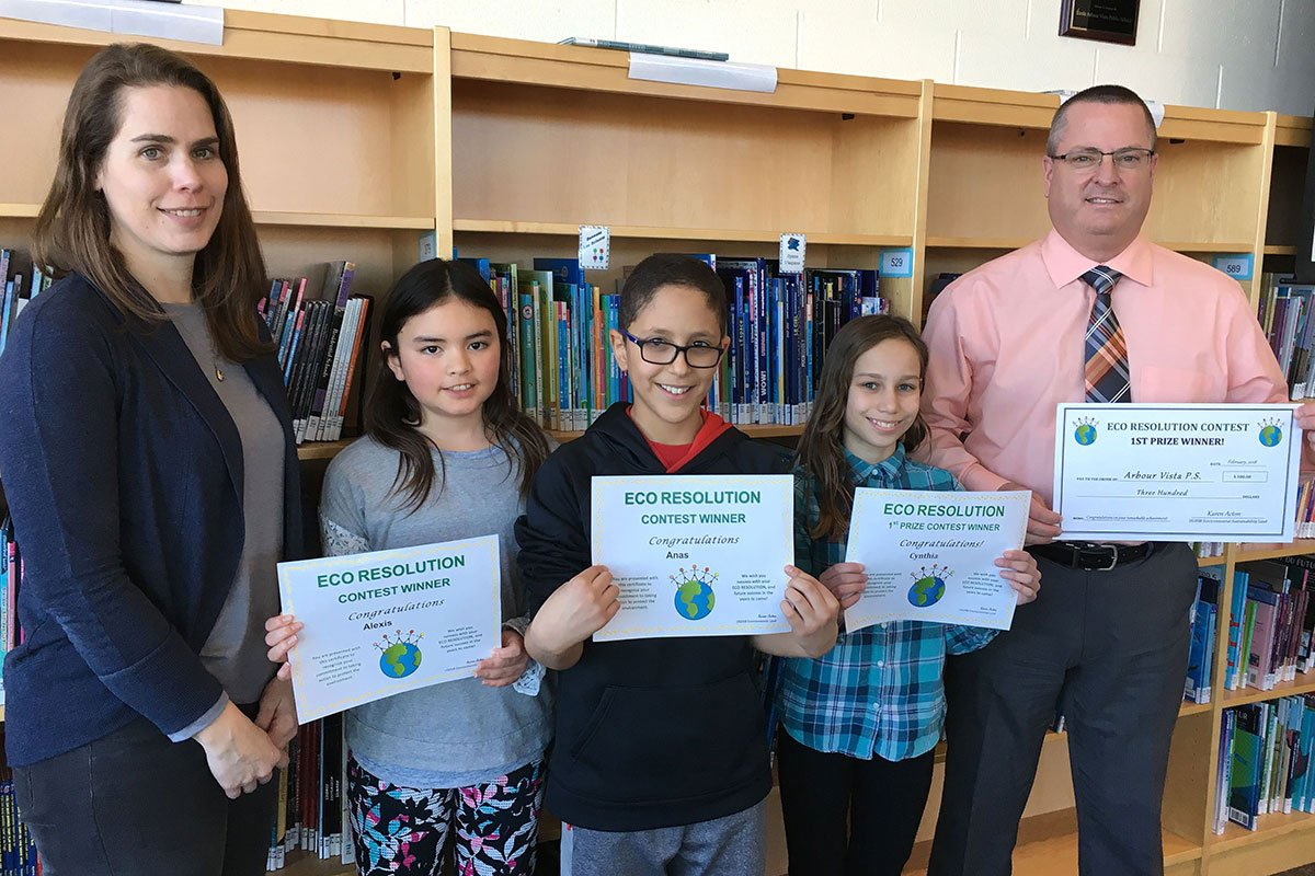 Staff and students at Arbour Vista PS celebrate their achievements in the 2018 Eco Resolution contest.