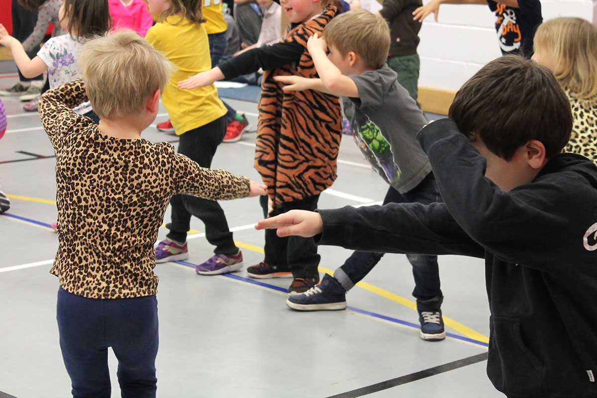 Victory PS students practice their performances as part of the dancED Movement Project, on April 6, 2018.