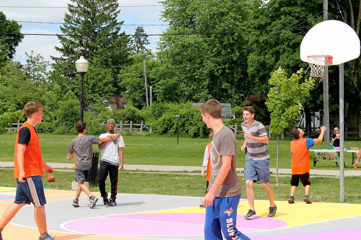 In May/June 2018, students from Norwell DSS's Life Skills Program designed and painted a large-scale basketball court mural on a public court near the school.