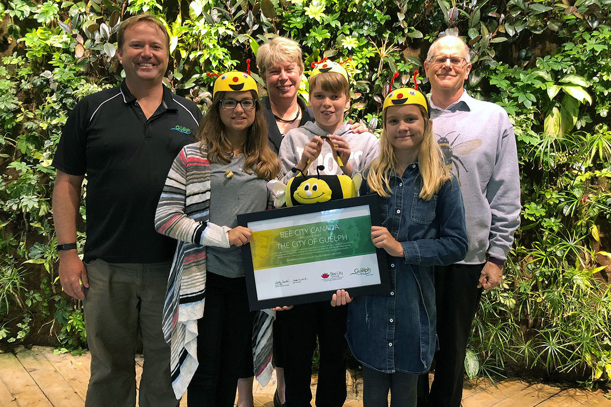Staff and students from Kortright Hills PS were at Guelph City Hall on Monday Sept. 10, 2018, for the presentation of the city's official designation as a Bee City.
