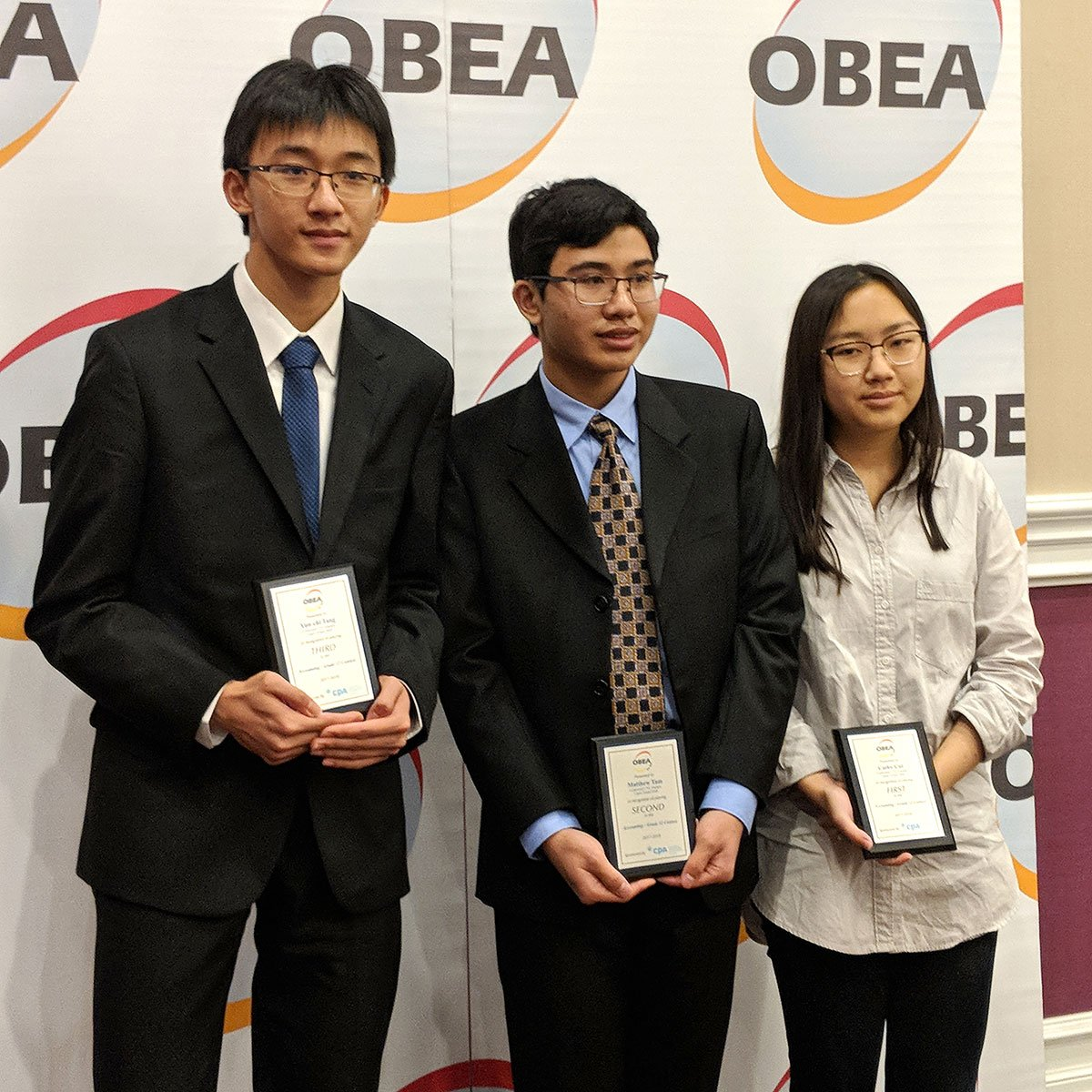 Grade 11 students from CCVI placed first, second, and third at the OBEA accounting contest.