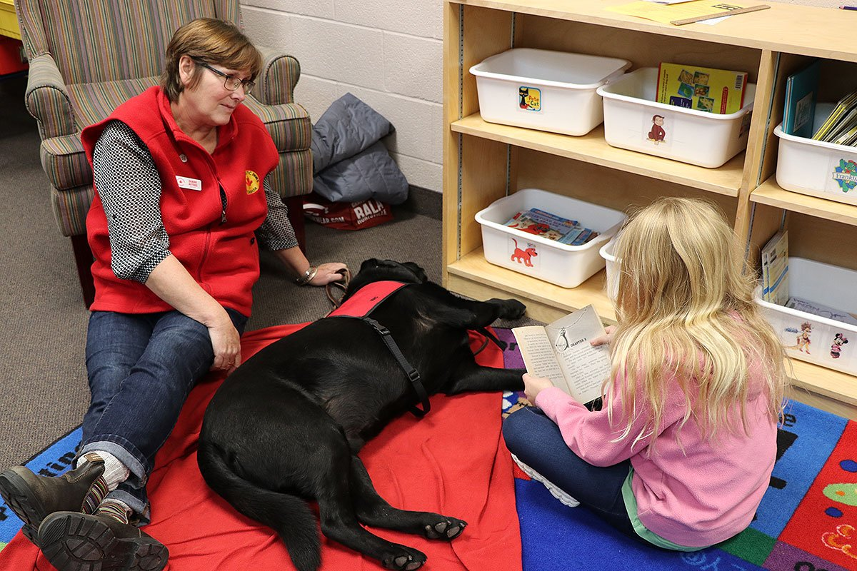 Students at Mitchell Woods PS are participating in the Paws to Read program, Nov. 2018.