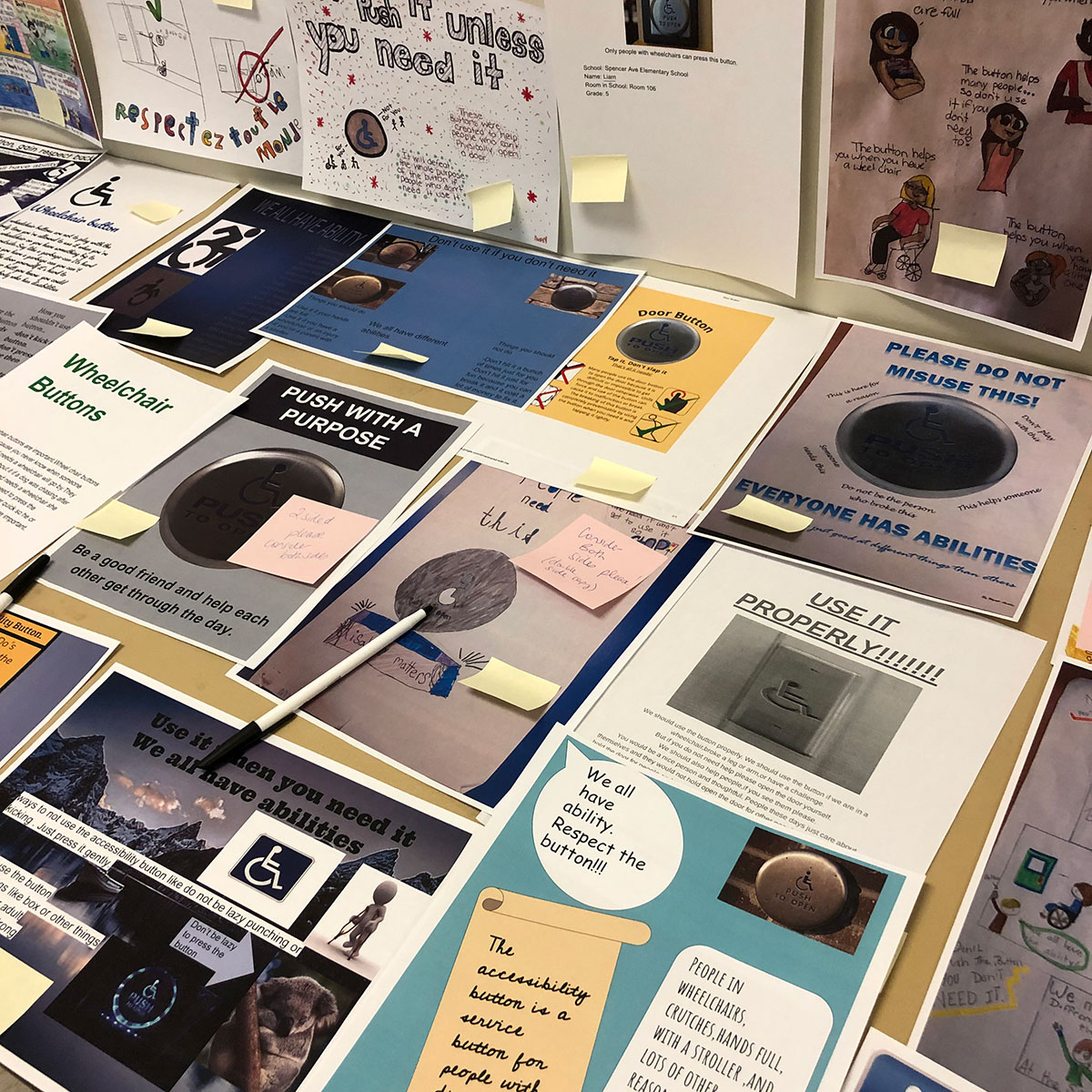 UGDSB students created announcements and posters around the proper use of accessibility door buttons, December 2018.