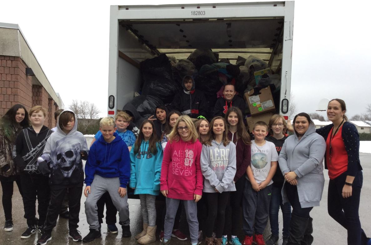 Parkinson Centennial PS students collected 4,400 pounds of textiles as part of an environmental contest and fundraiser.