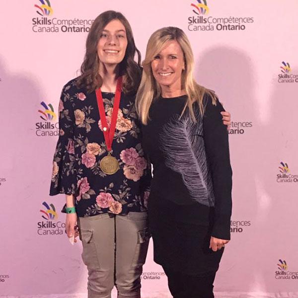 Jade and coach Jenny Ritter at Skills Ontario 2019.