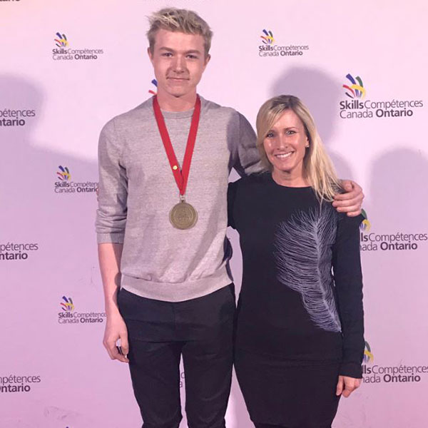 Kyle and coach Jenny Ritter at Skills Ontario 2019.
