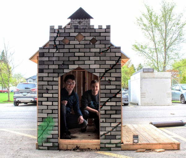 A Guelph Collegiate Vocational Institute Student along with her teacher designed, constructed and painted a puppet house as a class project.
