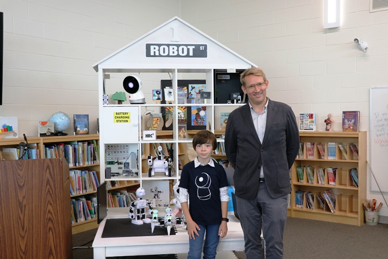 Hoffman and Cowan teamed up and visited Spencer Avenue ES to see how students reacted to and interacted with the robots.