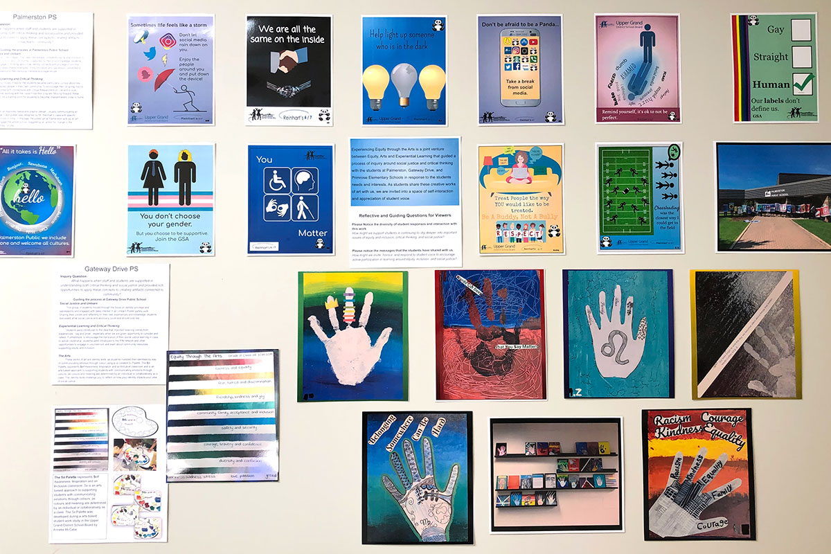 Art from an equity, social justice and experiential learning project is on display at the UGDSB's Guelph Board Office, June 7, 2019.