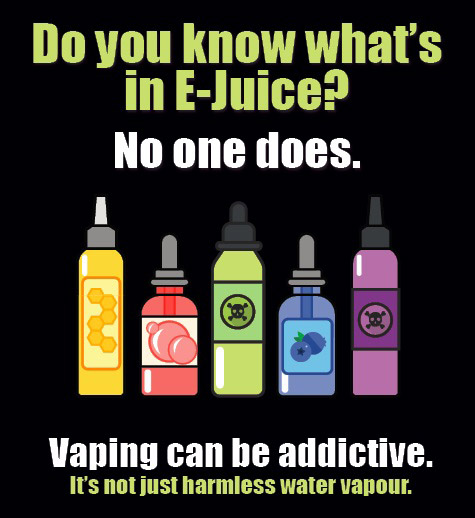 Public Health poster warning about the dangers of vaping.