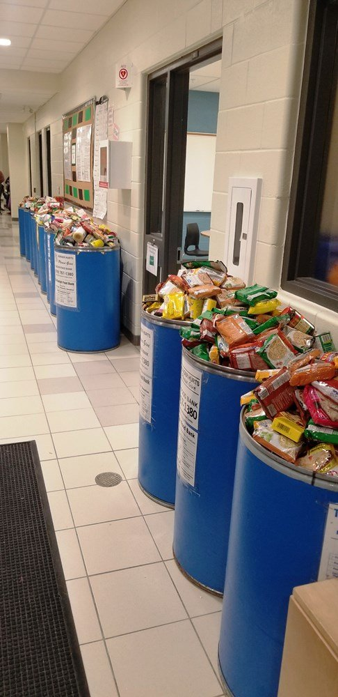 Students at Arbour Vista Public School have been busy collecting food items for the We Scare Hunger food drive.