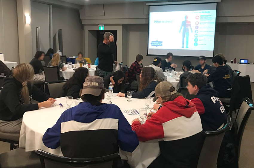 On Thursday October 10, 85 Health and Wellness SHSM students from Centennial Collegiate Vocational Institute, Guelph Collegiate Vocation Institute and Centre Wellington District High School met at the Italian Canadian Club in Guelph to participate in a series of certification and training sessions.