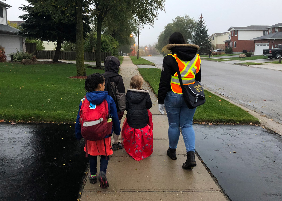 Mitchell Woods PS students take part in the Walking School Bus pilot program on Oct. 31, 2019.