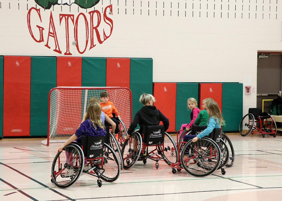 On Nov. 13, 2019, students at Alma Public School tried the UGDSB's Patrick Anderson Wheelchair Basketball program.