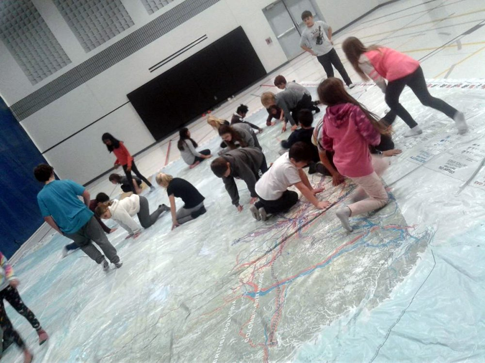 Kortright Students With Large Map