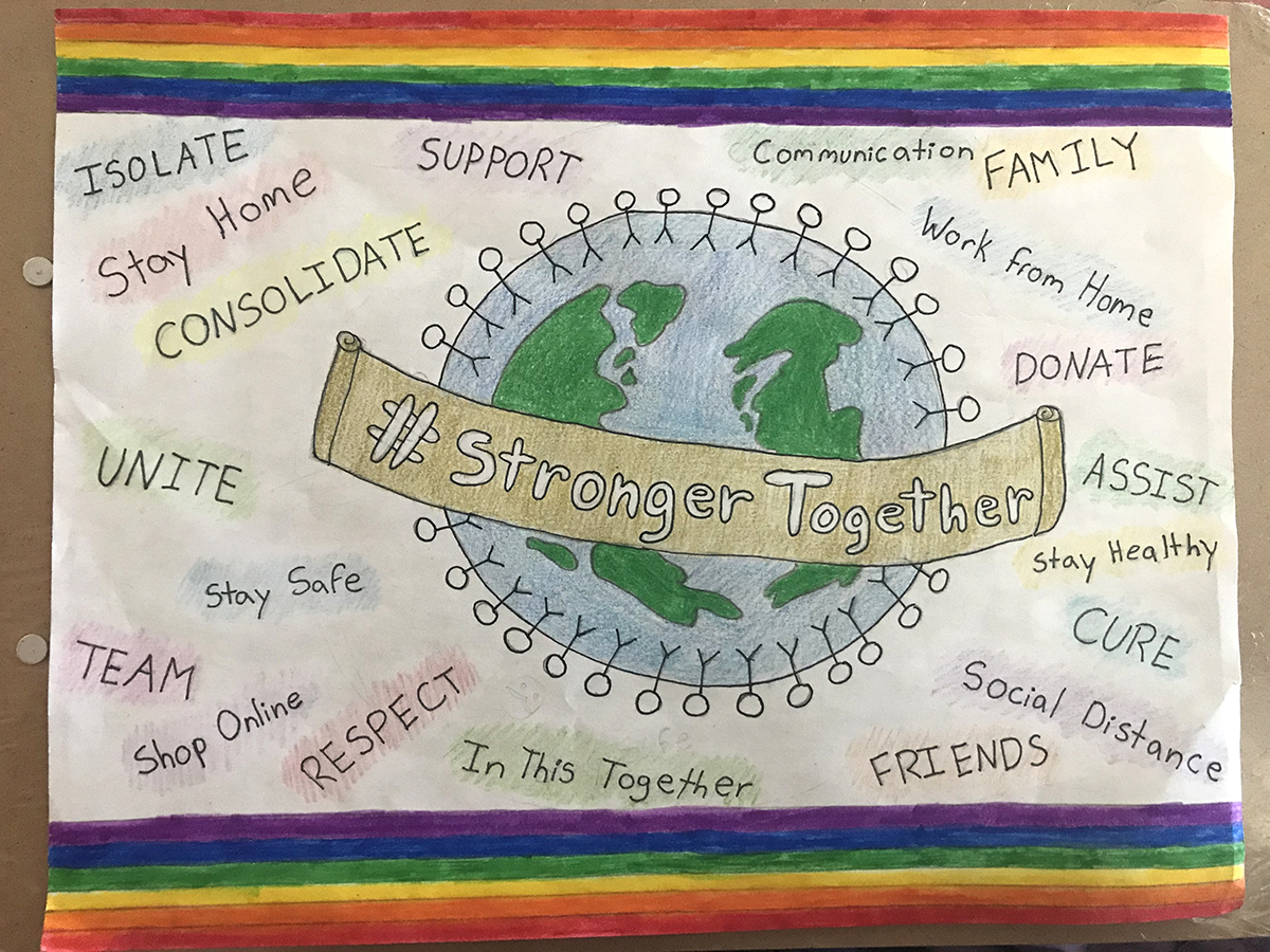A drawing of the Earth and inspirational words related to the COVID-19 pandemic.