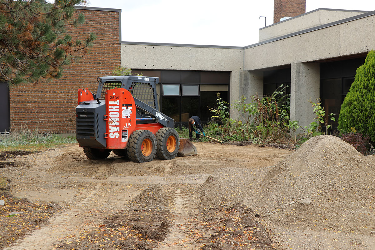 Picture of CHSS outdoor classroom construction, taken in Sept. 2020.