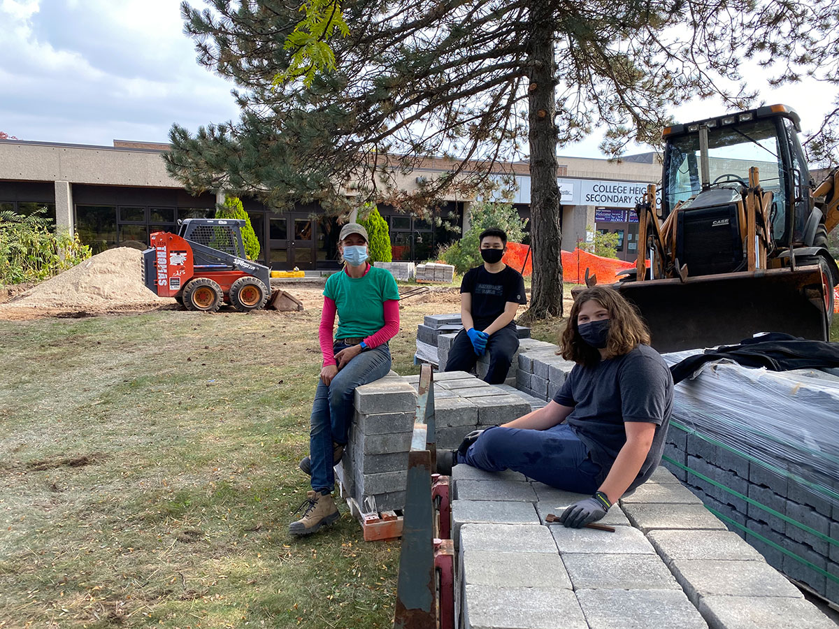 CHSS SHSM students are pictured with a shipment of pavers, which will be used in the school's outdoor classroom project. Sept. 2020