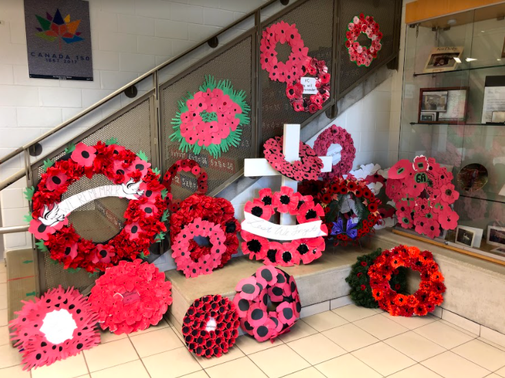 Wreaths lining the hall at Ken Danby PS