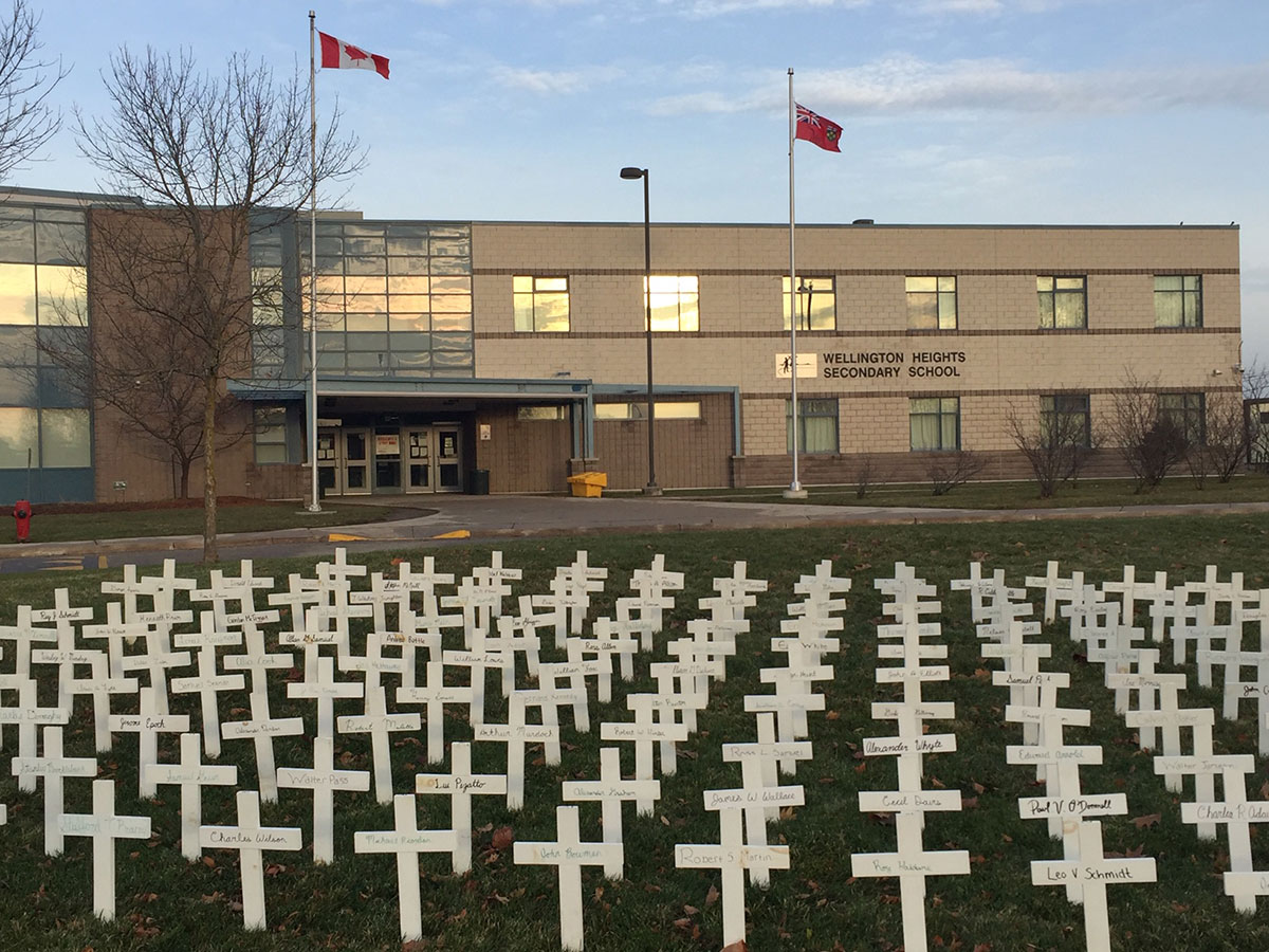 Row of crosses at Wellington Heights SS