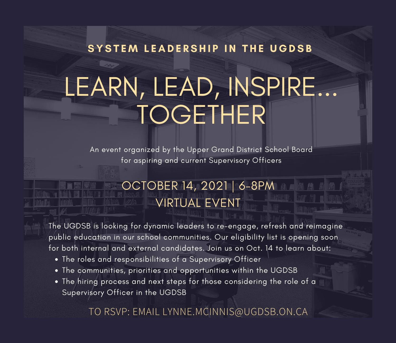 UGDSB System Leadership Event Oct. 14, 2021
